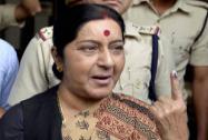 Sushma Swaraj casts her vote