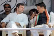 Rahul and Prithviraj Chavan during a rally
