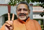 Giriraj Singh flashes victory sign after being granted bail