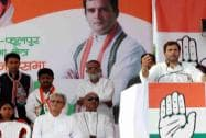Rahul Gandhi addresses an election campaign rally in Allahabad