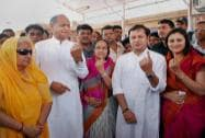 Congress candidate Chandresh Kumari Katoch with former Chief Minister Ashok Gehlot