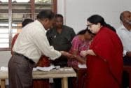 Jayalalithaa before casting vote for Lok Sabha election in Chennai