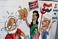 A Wall Grafiti of politicans ahead of Loksabha election in Kolkata