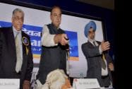 Finance Minister Arun Jaitley with G S Sandhu, Financial Services Secretary, and Indian Bank CMD TM Bhasin