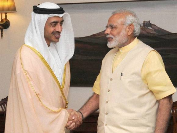 Prime Minister of India, Narendra Modi, UAE Foreign Minister, Sheikh Abdullah Bin Zayed Al Nahyan, India, UAE, India -UAE Joint Commission Meeting