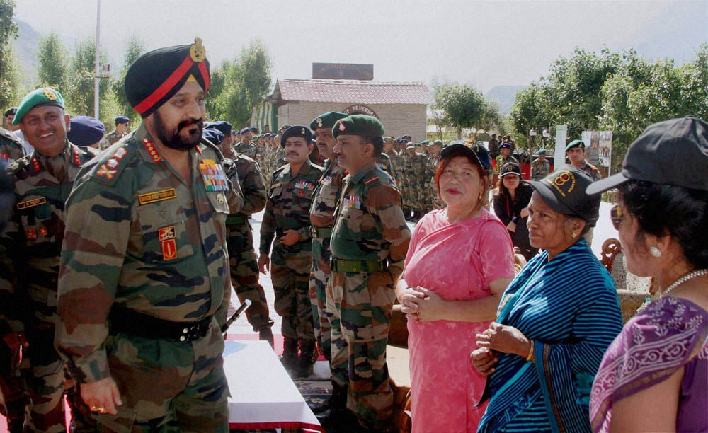 Army Chief General, Bikram Singh, interacting, widows, Kargil war, martyrs, function, commemorate, 15th anniversary, war, Drass