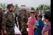 Army Chief General Bikram Singh interacting with the widows of Kargil war martyrs