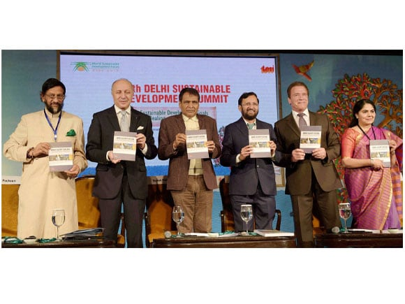 15th Delhi Sustainable Development Summit, Environment Minister of India, Prakash Javadekar, Railway Minister of India,  Suresh Prabhu, Former Governor of California, Arnold Schwarzenegger, Foreign Affairs Minister of French, Laurent Fabius, Director General of TERI, RK Pachauri