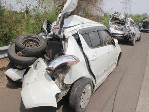 Damaged vehicles after a major accident at Panvel on Mumbai-Pune expressway, in Mumbai