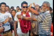 Asian Games gold medalist Hockey player Danish Murtaja is greeted with garlands