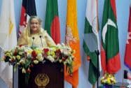 Bangladeshi Prime Minister Sheikh Hasina addresses the inaugural session of 18th SAARC Summit
