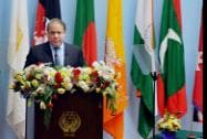 Pakistani Prime Minister Nawaz Sharif addresses the inaugural session of the 18th SAARC Summit