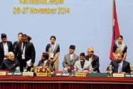 Prime Minister Narendra Modi with Nepalese PM Sushil Koirala, Pakistani Prime Minister Nawaz Sharif and Maldives President Abdulla Yameen