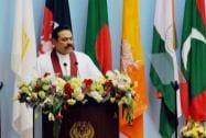 Sri Lankan President Mahinda Rajapaksa addresses the inaugural session of the 18th SAARC Summit