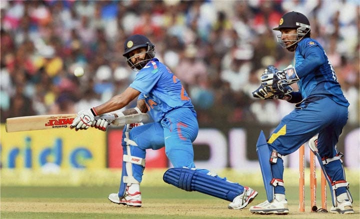 Indian, batsman, Shikhar Dhawan, plays, shot, 1st ODI, against, Sri Lanka, Cuttack