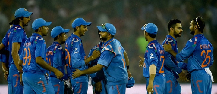 Indian, cricketers, celebrate, winning, 1st ODI match, against, Sri Lankan, Cuttack