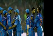 Indian cricketers celebrate after winning 1st ODI match against Sri Lankan