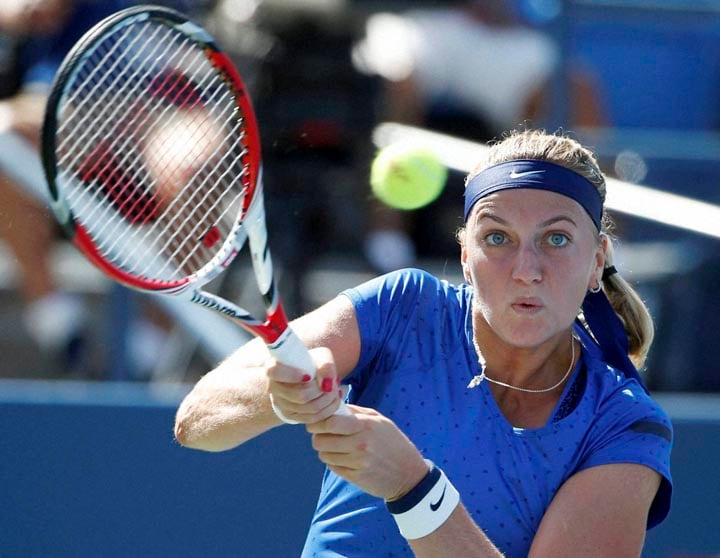 Petra Kvitova, Czech Republic, shot, Aleksandra Krunic, Serbia, third round, 2014, U.S. Open tennis tournament