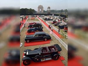Vintage cars on display at 21 Gun Salute International Vintage Car Rally & Concours Show 2017 at India Gate