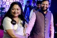 BJP leaders Prakash Javadekar and Vasundhara Raje attend a function