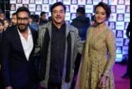 Bollywood actor Ajay Devgan with actor and politician Shatrughan Sinha with her daughter Sonakshi Sinha on the Red Carpet