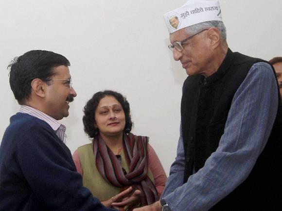 Arvind Kejriwal and Rajmohan Gandhi