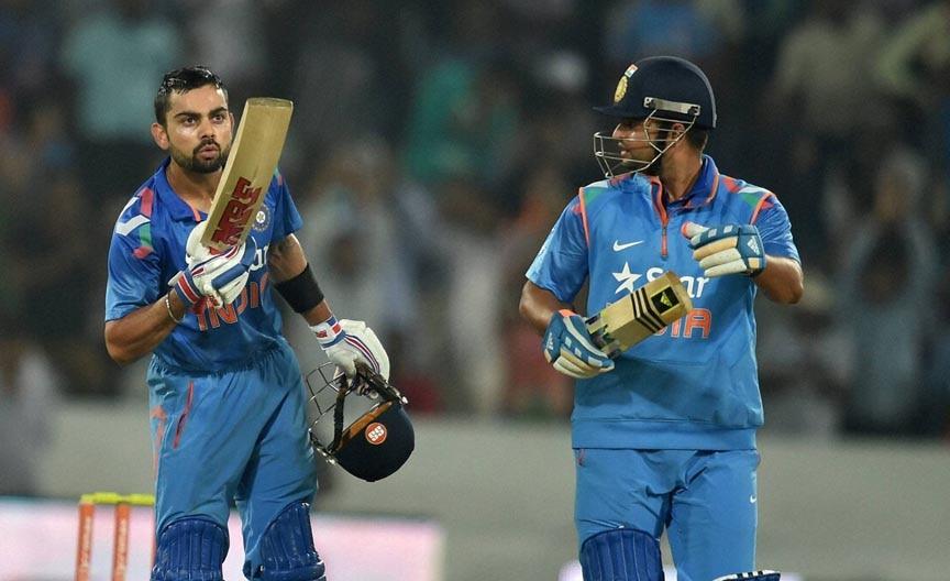 Indian captain, Virat Kohli, celebrates, fifty runs, Suresh Raina, looks, 3rd ODI match, against, Sri Lanka, Hyderabad