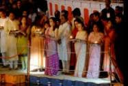 Reliance Industries Chairman & Managing Director Mukesh Ambani along with friends and family members participating Ganga Aarti