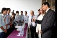 RBI Governor Raghuram Rajan at an exhibition organized by the engineering students of Somaiya College