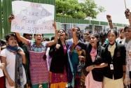 ABVP members during a protest at a school where a 6-year-girl was raped in Bengaluru