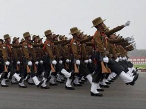 A marching contingent during the Army Day parade