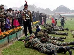 Members of Delhi police contingent for the Republic Day parade relax