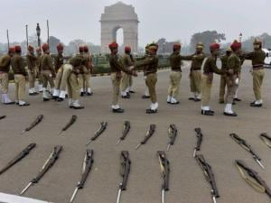 Members of Delhi police contingent for the Republic Day parade stretch