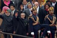 President Pranab Mukherjee, US President Barack Obama and Prime Minister Narendra Modi
