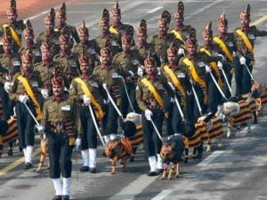 Indian army's dog squad marches