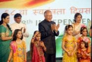 Indian Ambassador to China  Ashok Kantha with children who took part in the Independence day celebrations
