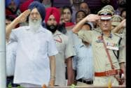 Punjab Chief Minister Parkash Singh Badal inspects the guard of honour