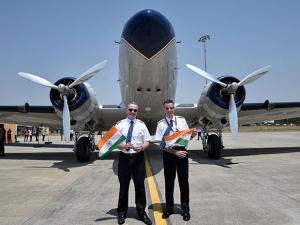 Pilot Francisco Agullo (L) and co-pilot Paul Bazeley of Breitling DC-3 World Tour flight