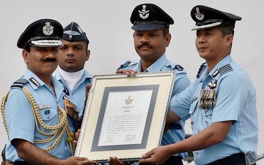 Air Chief Marshal, Arup Raha, honouring, officers, 82nd Air Force Day, function, Air Force Station, Hindon