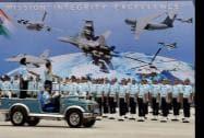 Air Chief Marshal Arup Raha reviews the parade