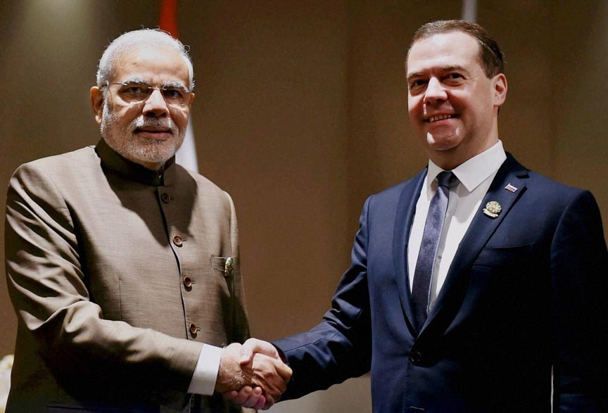 Prime Minister Narendra Modi, shakes hands, Russian counterpart Dmitry Medvedev,  meeting, Nay Pyi Taw, Myanmar