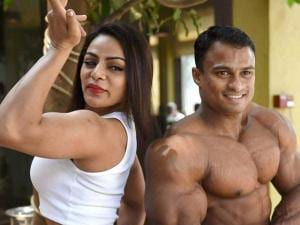 Body builders pose for a photo during a press conference to announce the 9th Mr India 2016 National body building and Physique sports championship in Mumbai