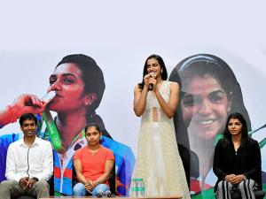 Olympics silver medalist shuttler P V Sindhu speaks as bronze winner grappler Sakshi Malik