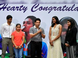 Sachin Tendulkar speaks at a felicitation function to honor Rio Olympics Athletes