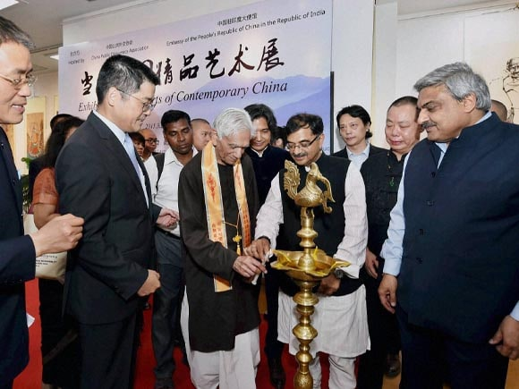 Painting, India, China, Mahatma Gandhi,  Artist, 65th Anniversary, Chinese President,  Xi Jinping, Prime Minister of India, Narendra Modi, Secretary  MEA, Anil Wadhwa, Le Yucheng, Chinese Ambassador to India