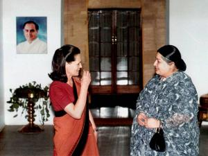 Jayalalithaa is seen with Congress President Sonia Gandhi in New Delhi in 1999
