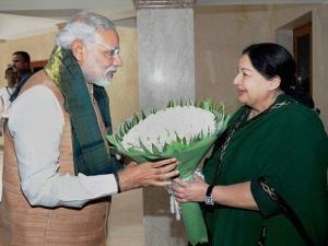 Jayalalithaa with Prime Minister Narendra Modi