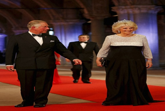 Britain's Prince Charles and his wife Camila, Duchess of Cornwall arrive for the coronation ceremony