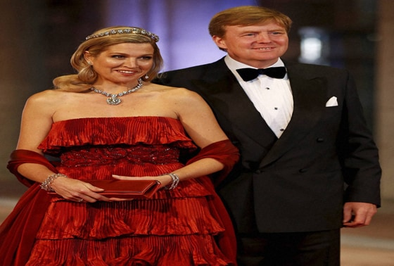 Dutch Crown Prince Willem-Alexander and his wife Princess Maxima at the coronation ceremony