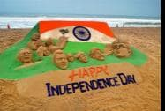 A sand sculpture on eve of Independance day at Puri beach